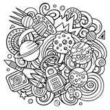 Cartoon vector doodles Space illustration Stock Image