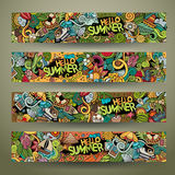 Cartoon vector doodles summer banners Royalty Free Stock Photography