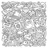 Cartoon vector doodles Travel illustration. Line art, detailed, with lots of objects background. All objects separate. Contour drawing traveling funny round Stock Photography