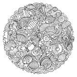 Cartoon vector doodles Underwater world illustration Royalty Free Stock Image