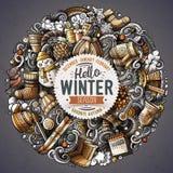 Cartoon vector doodles Winter illustration Royalty Free Stock Image