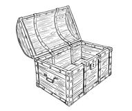 Cartoon Vector Drawing of Old Empty Open Pirate Chest. Cartoon vector doodle drawing illustration of old wooden empty open pirate treasure chest or trunk Royalty Free Stock Photo