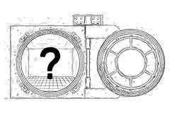 Cartoon Vector Drawing of Open Empty Vault Door. Cartoon vector doodle drawing illustration of open empty vault door with question mark inside. Business concept Stock Image