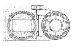 Cartoon Vector Drawing of Open Empty Vault Door. Cartoon vector doodle drawing illustration of open empty vault door. Business concept of crisis or bankrupt Stock Image