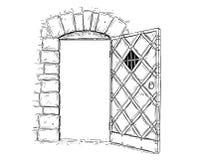 Cartoon Vector Drawing of Open Wooden Medieval Decision Door. Cartoon vector doodle drawing illustration of open medieval wooden decision door stock illustration