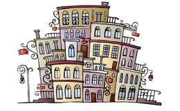 Cartoon vector drawing town Royalty Free Stock Photo