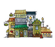 Cartoon vector drawing town Royalty Free Stock Photography