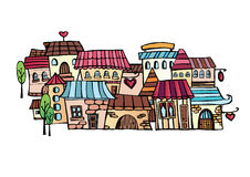 Cartoon vector drawing town Stock Photography