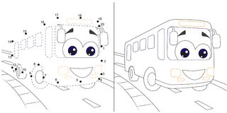 Bus. numbers game for children. dot to dot educational kid gamewith answer. stock illustration