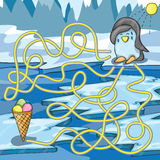 Cartoon Vector of Education Maze or Labyrinth Game. Cartoon Vector Illustration of Education Maze with Funny Penguin and ice cream Stock Photos