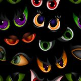 Cartoon vector eyes beast devil monster animals eyeballs of angry or scary expressions evil eyebrow and eyelashes on. Face scared snake or dracula vampire Royalty Free Stock Image