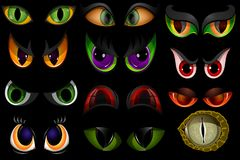 Cartoon vector eyes beast devil monster animals eyeballs of angry or scary expressions evil eyebrow and eyelashes on. Face scared snake or dracula vampire Stock Images