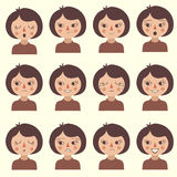 Cartoon vector face emotion, Stock Images