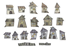 Cartoon vector fairy tale drawing houses Royalty Free Stock Image
