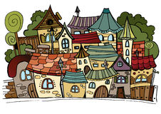 Cartoon vector fairy tale drawing town. Royalty Free Stock Photos
