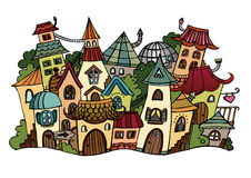 Cartoon vector fairy tale drawing town. Stock Photography