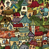 Cartoon vector fairy tale drawing town. Seamless pattern Royalty Free Stock Photography