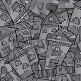 Cartoon vector fairy tale drawing town. Seamless pattern Royalty Free Stock Photo