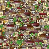 Cartoon vector fairy tale drawing town. Seamless pattern Royalty Free Stock Photos