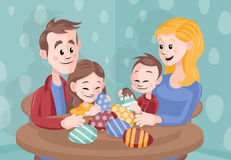 Cartoon Vector Family Celebrating Easter at Home Royalty Free Stock Image