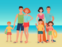 Cartoon vector family couple with kids on the sea ocean beach together. Stock Photography