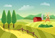 Cartoon vector farm landscape field with farmers building, large field farming striped. Farm flat landscape. Cartoon vector farm landscape field with farmers Stock Photos