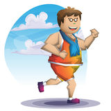 Cartoon vector fat boy run with separated layers for game and animation Stock Photo