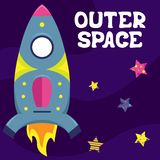 Cartoon vector flat illustration with a spaceship. Outer space royalty free illustration
