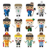 Cartoon vector flat male different occupation characters Royalty Free Stock Images
