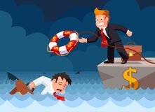 Cartoon vector flat style of a bank employee throwing a lifebuoy to a drowning businessman in danger. Investment risk and security concept royalty free illustration
