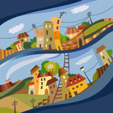 Cartoon vector flat style city Stock Photos