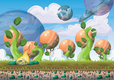 Cartoon vector floating island background with separated layers for game art and animation. Game design asset in 2d graphic Stock Photography