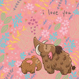Cartoon vector floral card with mammoth Stock Photo