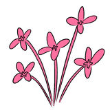 Cartoon vector flower pink bloom Stock Image