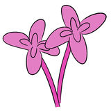 Cartoon vector flower pink bloom Stock Photos