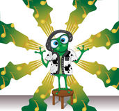 Cartoon vector frog with headphones on a musical background Royalty Free Stock Photography