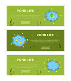 Cartoon vector garden pond advertisment banners with water, plants and animals. Royalty Free Stock Images