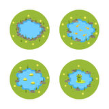 Cartoon vector garden pond illustration with water, plants and animals. Stock Photography