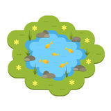 Cartoon vector garden pond illustration with water, plants and animals. Royalty Free Stock Photos