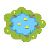 Cartoon vector garden pond illustration with water, plants and animals. Stock Photos