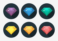 Cartoon vector gem and diamond icon rainbow color isolated on background. Vector Illustration stock illustration