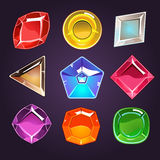Cartoon Vector Gems and Diamonds Icons Set Stock Photo