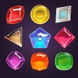 Cartoon Vector Gems and Diamonds Icons Set Stock Photo