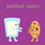 Cartoon vector of glass of milk and cookie. Stock Images