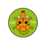 Cartoon vector goby. bull top view. Inscribed in a circle as an emblem green background. Royalty Free Stock Photos
