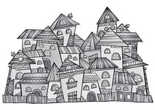 Cartoon vector grayscale construction town Stock Images