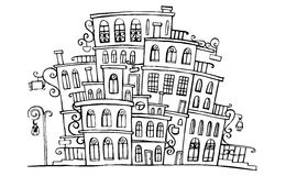 Cartoon vector grayscale town Royalty Free Stock Photos