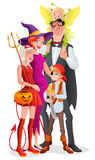 Cartoon vector Halloween family. Vampire, witch, devil, pirate and fairy. Cute cartoon family with three kids in Halloween costumes vampire, witch, devil Stock Images