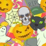 Cartoon vector Halloween symbols seamless pattern. Colorful illustration. Cartoon vector Halloween symbols and characters seamless pattern. Colorful vector Royalty Free Stock Photo