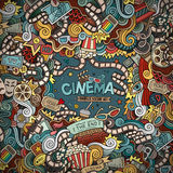 Cartoon vector hand-drawn Cinema Doodle frame. Colorful design background with movie objects and symbols border Stock Photo